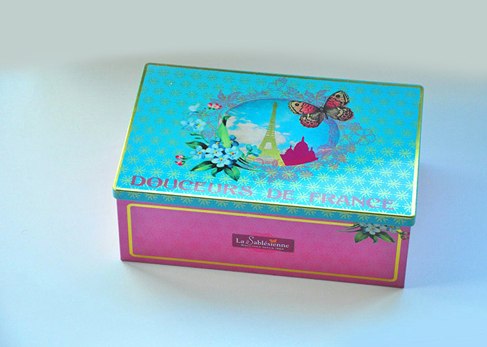 France rectangle storage tin box/gift box/special design contaier(China (Mainland))