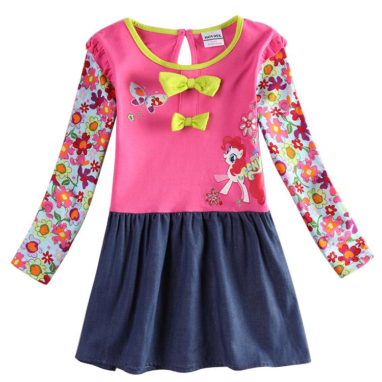 Baby Girl Clothes Nova New 2015 Cartoon Girls's Knee Length Dresses Kids Floral Print Clothing Girls Dress H6491D