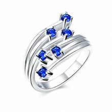 ร้อนขายเงินชุบแหวนคริสตัลสีฟ้าปูประดับเพชรหินผสมนิกเกิลฟรีสั่งซื้อเครื่องประดับสุขภาพ3สี