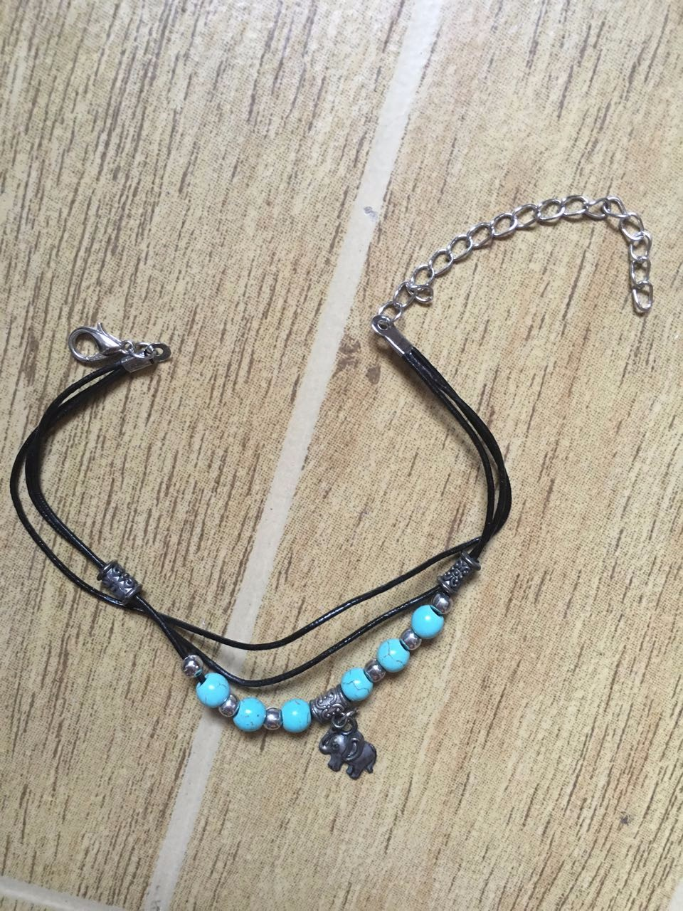 2016 New Beach Jewelry Tibetan Elephant Pendant  Turquoise Beads Anklet Foot Leather Chain Ankle Bracelet B56