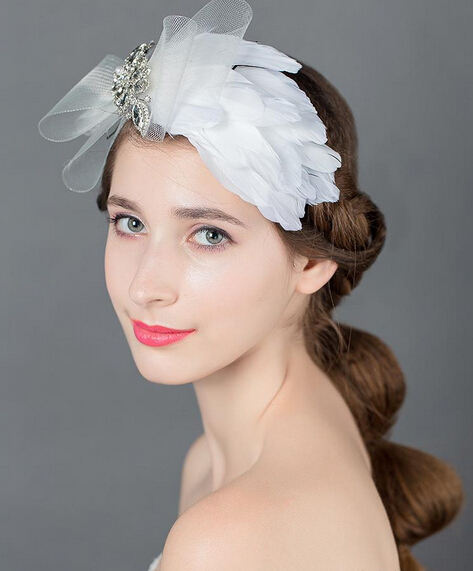 White feather hairgrips with crystal bridal hairband jewerly headband hair accessories women hairwear wedding decoration<br><br>Aliexpress
