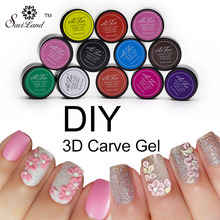 Saviland 1pcs 12 Coloful 3D Sculpture Carved Glue Glitter Painting UV Gel Acrylic Nail Art Modelling Manicure Decor(China (Mainland))