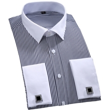 Buy 2016 New Cufflinks Men Dress Shirts Fashion Formal Business Wedding French Cuff Stripe Shirts T0025 for $13.75 in AliExpress store