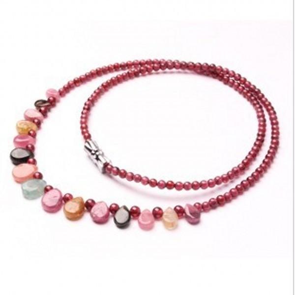 Природный гранат турмалин бусины ожерелье ювелирных украшений бижутерии старинные ожерелье кольер ожерелье женщины бусины 3 - 4 мм 009
