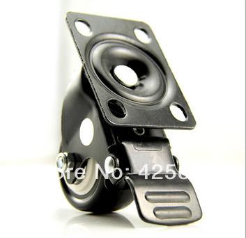 2pcs Black 50mm Rubber2 Inch Medium-duty Double Brake Universal Wheel Sofa Casters Polyurethane PU Furniture Nylon Desk 110kg(China (Mainland))