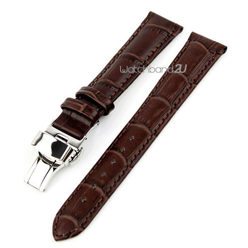 Alligator Grain Leather Push Button Deployment Clasp Watch Band Strap Brown 12mm, 14mm, 16mm,17mm, 18mm,19mm,20mm,21mm,24mm,22mm - strap 2U store