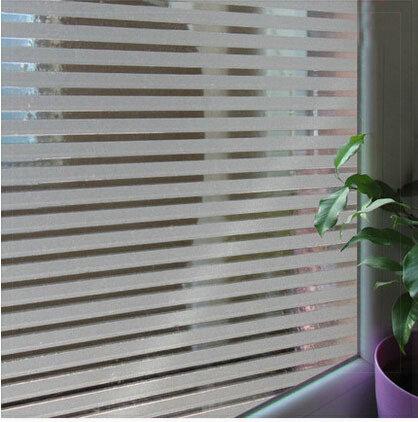 0.45*10m Stripe Static Cling Window Film No Adhesive for Bathroom Door Privacy Window Glass Film Sticker(China (Mainland))