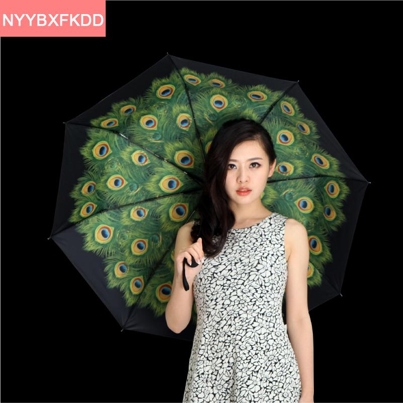 2016 Новый творческий черный зонт Павлин черное покрытие взрослых бренд УФ солнечный/дождливый зонтик складной зонтик дождь женщины