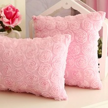 Romantic luxury pink white rose flower square cushion/almofadas cover girls,princess lace pillow case for bed home decorative(China (Mainland))