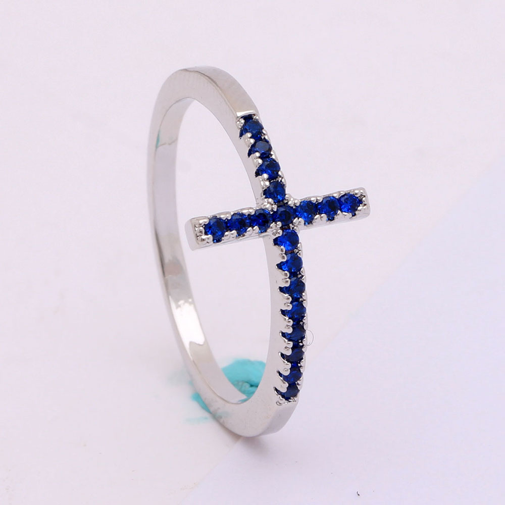 Religious Trend Sideways Cross ring Royal blue black Czech diamond crystal mixed size silver plated engagement ring for women(China (Mainland))