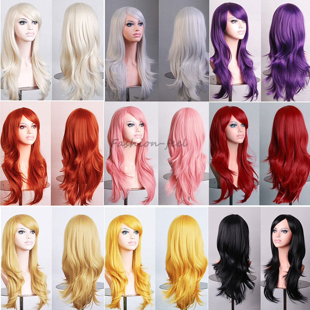 Top Quality Women's Synthetic Hair Wig Heat Resistant Full Long Wavy Layer Cosplay Party Wigs Pink Purple Orange Beautiful(China (Mainland))