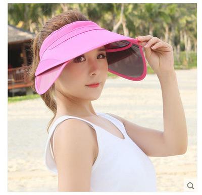 2016 New Arrival Fashion Empty Top Beach Cap Sunbonnet Visor Hat Solid Summer Hat For Women Sunscreen Folding Sun Hat 7 Colors(China (Mainland))