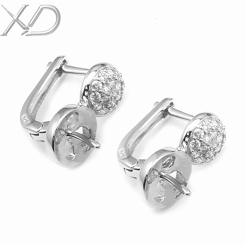 XD C621 925 sterling silver earring  fashion earring bail zircon stone posted accessories for diy jewelry<br><br>Aliexpress