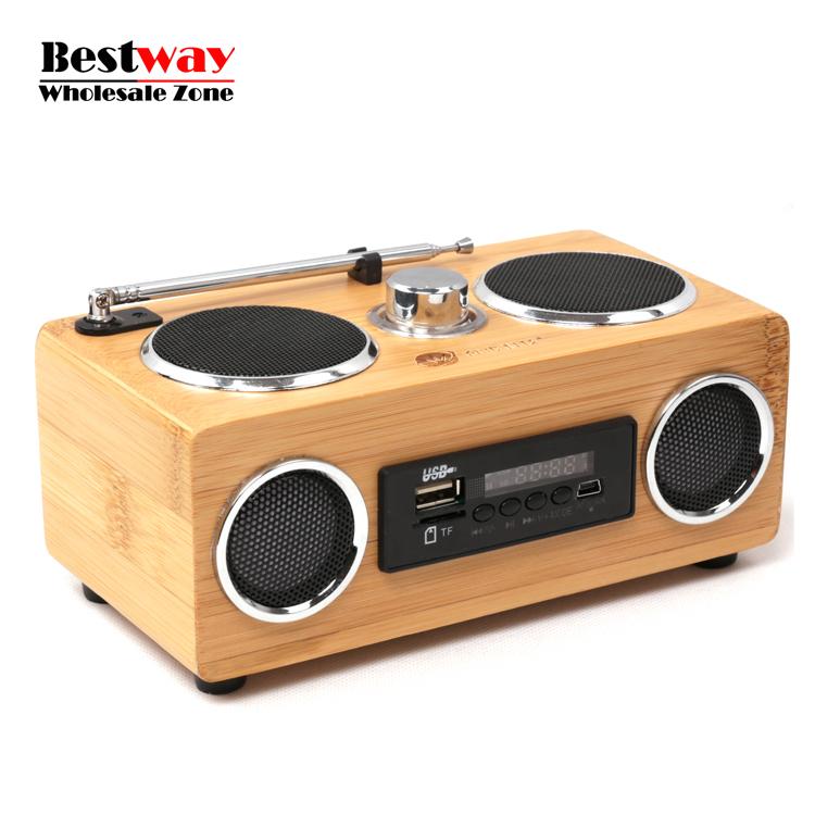 20pcs/lot Wholesale Bamboo Speaker Bluetooth Reciever Caixa De Som TF Card/USB/AUX Subwoofer Speakers FM Radio Musica Altavoces(China (Mainland))
