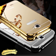 For Samsung Note 2 Case Luxury Aluminum Frame + Mirror Acrylic Back Cover Mirror Bumper for Samsung Galaxy Note 2 note2 n7100(China (Mainland))