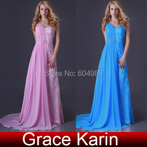 Free Shipping Grace Karin Sexy One shoulder Chiffon & Lace Bridesmaid Party Ball Lace Evening Gown Blue/Pink Prom Dress CL3522