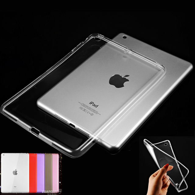 Scolour Hot Soft Gel TPU Skin Silicone Back Case Cover Silk Slim Clear Transparent Smart Back Cover for iPad mini 1 2 3 Retina