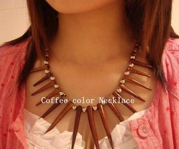 NEW ARRIVE Popular Tibetan Jewelry Nepal Fashion Coffee Gem Needle Tip Shape Ladies' Necklace all-match Jewelry