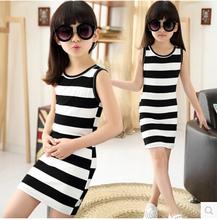 kiz cocuk giyim sleeveless summer dresses for girls 4-14 years old teenage girls fashion striped dress vestidos infantis clothes