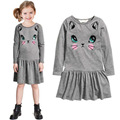 2016 New Arrival Summer Girl Dress Cat Print Grey Baby Girl Dress Children Clothing Children Dress 2-7years