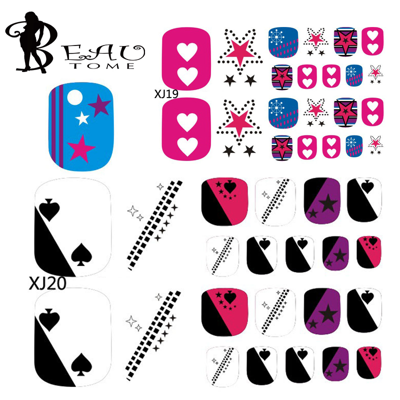 Beautome 2016 Fashion Glitter Toe Nails Stickers Colorful Play Card Polka Dot Toe Nail Art Stickers Design For Women Girl XJ1724(China (Mainland))