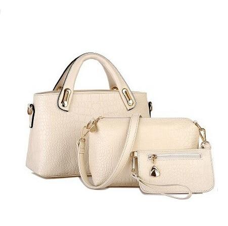 Famous Brands Handbags 2016 Luxury Elegant Female Big Bags Crocodile Women's PU Leather Handbag 3 Pcs/Set Women Messenger Bag(China (Mainland))