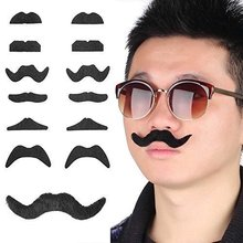 Fake Self-Adhesive Stick-On Mustache Disguise Novelty Toys Set for Birthday, Costume Party, Event Supplies, Favors (48 Pack)(China (Mainland))