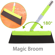 Magic Broom Sweep Dust Hair Bathroom Wiper Broom Rotate Connector Rubber Mop Cleaning Tool 180-degree rotating blade clean sweep(China (Mainland))