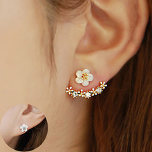 Flower Crystals Stud Earring for Women Rose gold color Double Sided Fashion Jewelry Earrings female Ear brincos Pending(China (Mainland))