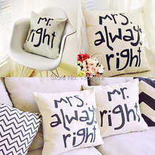 Mr.Right and Mrs.Always Right Cushion Cover