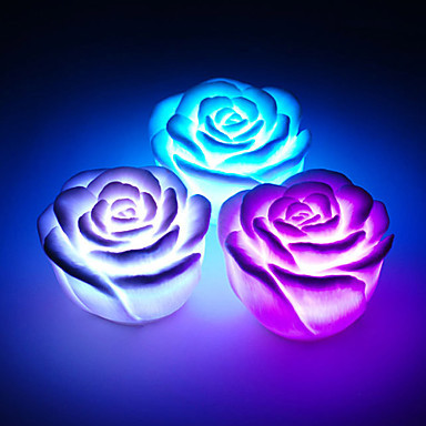 Christmas Day Valentine's Day Festival Atmosphere Romantic 7 Colors Changing Rose Flower LED Night light Decoration Candle Rose(Hong Kong)