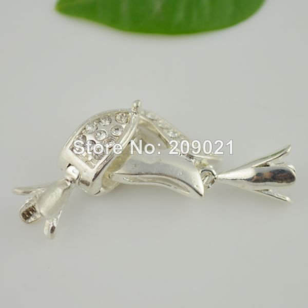DIY 15Sets Silver Plated Toggle Clasps with Clear Crystal Rhinestones as Leather / Cord / Chain Connector(China (Mainland))