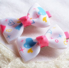 300pcs/lot Baby Girls' Printed Cartoon Hairbows with Clip