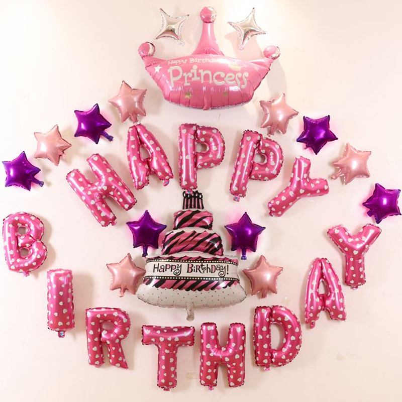 Colorful Foil Balloons Pink Happy Birthday Letter Kids Party Idea Set Princess Decoration Baby
