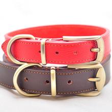 Новый Кожаный Ошейник Краткий и Моде Регулируемая Pet Ошейник Ожерелье для Маленький Средний Большой Собаки Черный Красный коричневый