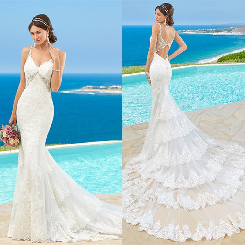 Кружева Русалка Sexy Backless Свадебные Платья 2016 robe de mariage Женщины Свадебные Платья vestidos де noiva Нестандартного Размера NT06