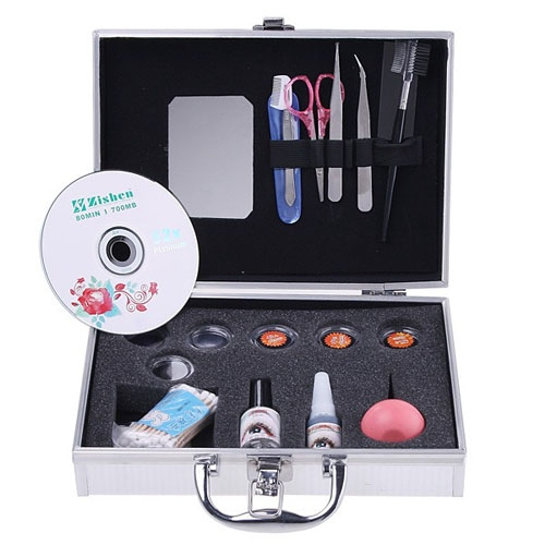 New Professional Portable Eyelashes Extension Kit Loose EyeLash Lashes with Silver Box Case Salon Tool