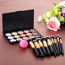 15 Color Concealer Palette + 10 x Makeup Brushes Kit + Teardrop-shaped Puff Makeup Base Foundation Concealers Face Powder(China (Mainland))