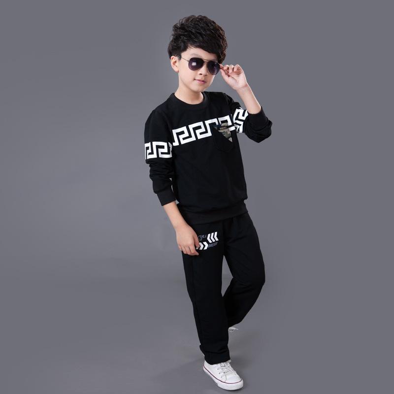 2015 Brand Big Boys Tracksuit Sets 6-14y Kids Cotton Long Sleeve Sweatshirt+Pants Children's Clothing Sets Sweatshirts FA053(China (Mainland))