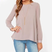 Ladies Office Shirts 2015 New Arrival Women Clothing Vintage European Style Nude Long Sleeve Pleated Back Blouse