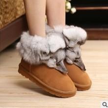 2017 Nueva Moda de piel de Zorro Para Mujer Pisos Botas de Nieve de Espesor inferior Tamaño Grande 35-44 Zapatos Femeninos de Cuero Genuino de Arranque de Invierno XP15(China (Mainland))
