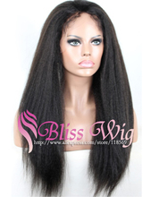 Bliss Wig Italian Yaki African American Full Lace Human Hair Wigs Best Glueless Brazilian Virgin Kinky Straight Lace Front Wigs(China (Mainland))