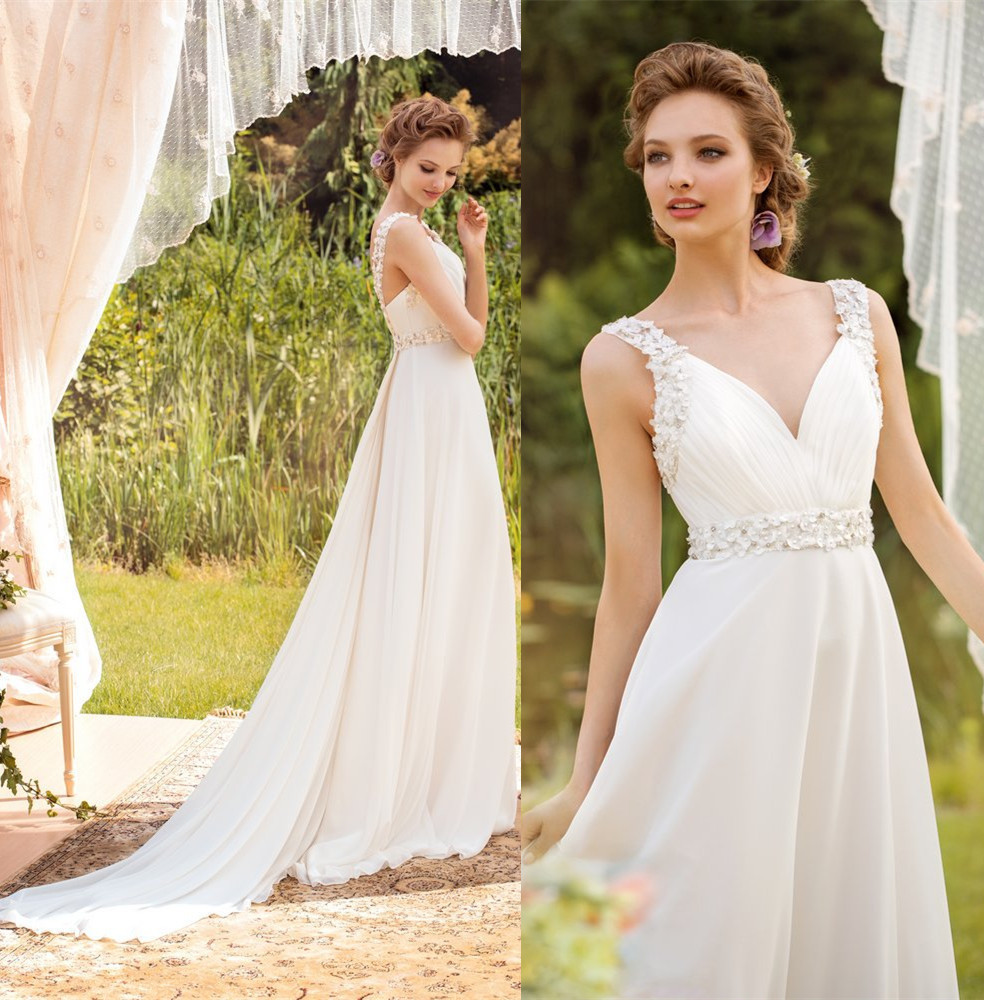 Robe de mariage cheap beach wedding dress 2015 v neck a Inexpensive beach wedding dresses