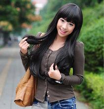 Hot heat resistant Kanekalon Party hair>>Fashion womens wig long curly wave black Cosplay party bar hair full wigs