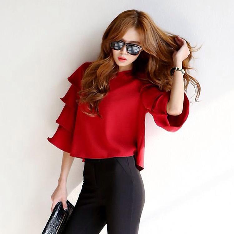TIC-TEC Fashion Women Sweet Ruffles Red blouses flare O neck shirts half sleeve casual tops blusa renda roupas femininas vintage(China (Mainland))