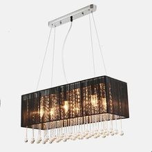 Free Shipping Modern Rectangle Design Cloth Lampshade Crystal Chandelier E14 Lights Home Decoration Lighting For Dining Room DHL(China (Mainland))