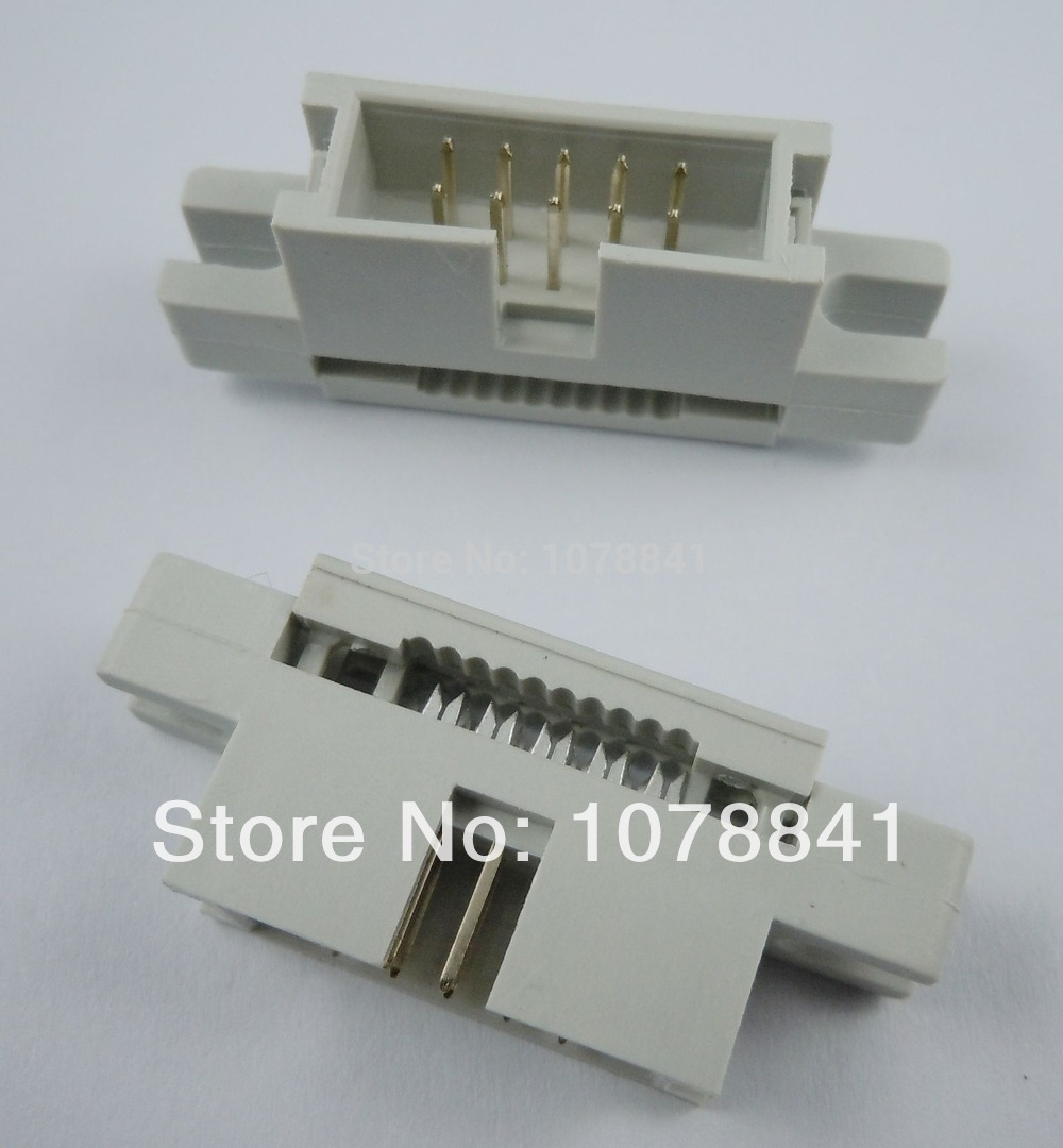 50 Pcs Per Lot 2.54mm Pitch 2x5 Pin 10 Pin Male Straight IDC Type Cable Box Header Connector от Aliexpress INT