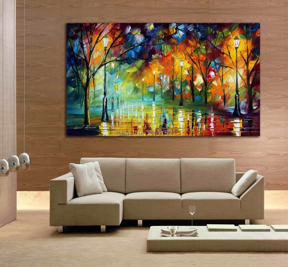 Romantic park night abstract canvas landscape painting picture decoration pieces for living room - Decoration pieces for living room ...