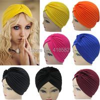 M015-Min.1pc Free shipping 18 colors Fashion  Indian cap Stretchable Turban Hat Head Wrap Bandana Hijab High quality