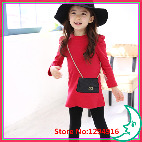 2014 autumn long sleeved children T-shirts Kids child shirts lovely fake bunny bag cotton girls T shirt, green/red - Fashion Zoon No.1 store